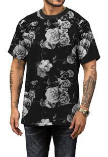 Camiseta Di Nuevo Flores Brancas Black Off White Preta Rap Preta