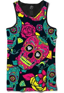 Camiseta Bsc Regata Mexican Skull Diamond Full Print - Masculino