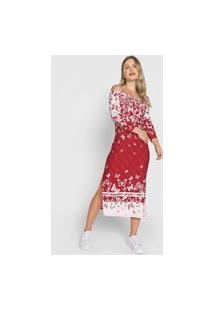 Vestido Enfim Midi Ombro A Ombro Borboleta Vermelho/Branco