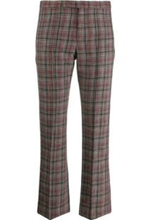 Isabel Marant Checked Cropped Trousers - Vermelho