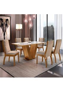 Conjunto Mesa Espanha Tampo Dakota Vidro 6 Cadeiras Turim Ypê/Suede Pena