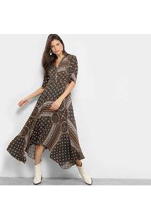 8c3fa067e ... Vestido Lez A Lez Poul Morocain Estampado Gola V - Feminino-Marrom