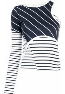 Marine Serre Blusa Assimétrica Com Listras E Patchwork - Branco