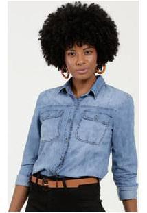 Camisa Feminina Jeans Botões Manga Longa Gups