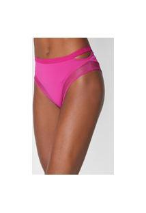 Calcinha Colcci Underwear Hot Pant Recortes Tule Rosa
