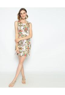 Vestido Floral- Branco & Amarelo- Vip Reservavip Reserva