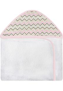 Toalha De Banho C/ Capuz Estampado Laura Baby Chevron Rosa Colorido