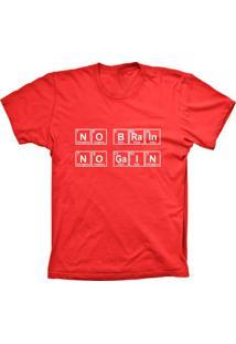 Camiseta Lu Geek Manga Curta No Brain Vermelho