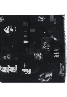 Paul Smith Echarpe De Lã Com Estampa - Preto
