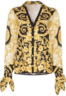Versace Blusa De Seda Estampada - Preto