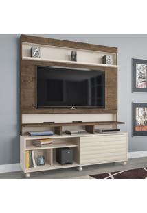 Estante Para Tv Até 55 Polegadas Atlanta 1 Porta Flex Mocaccino Rústico/3D Natura Off White - Atualle Móveis