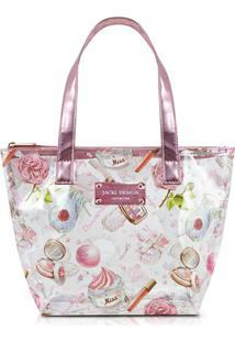 Bolsa P Transparente E Rosa - Jacki Design