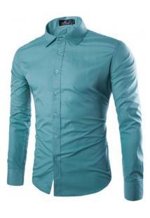 Camisa Social Masculina Slim Manga Longa - Verde Turquesa