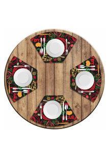 Jogo Americano Love Decor Para Mesa Redonda Wevans Pizza Kit Com 4 Pçs