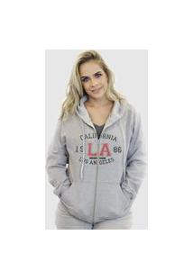 Blusa Moletom Aberto Suffix Com Ziper Cinza Claro Estampa Los Angeles California College