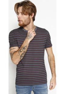 "Camiseta ""Calvinâ®"" Listrada - Azul Marinho & Vinhocalvin Klein"