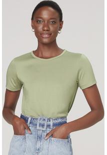 Blusa Cropped Feminina Em Malha De Viscose - Verde