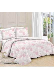 Conjunto De Colcha Patchwork Floral King Size- Branco & Camesa