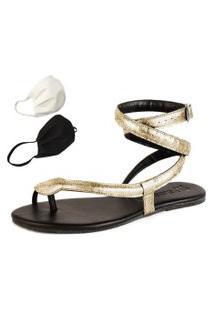 Sandalia Rasteira Mercedita Shoes Cobra Dourada Ouro Metalizada + Brinde