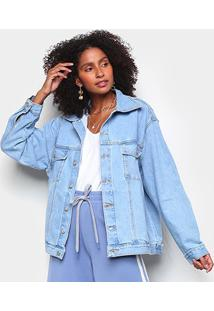 Jaqueta Jeans Farm Ampla Feminina - Feminino-Azul