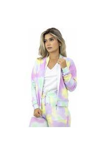 Jaqueta Feminina Cropped Tie Dye Colorida Com Gola Zíper