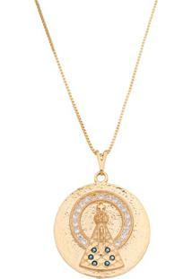 Colar Banhado A Ouro Com Cristais- Dourado & Azul Escurocarolina Alcaide