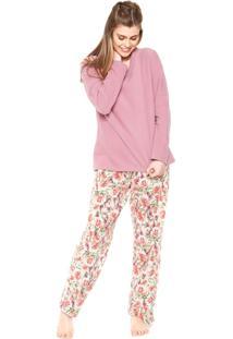 Pijama Pzama Decote V Rosa/Bege