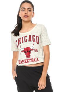 Camiseta Cropped Nba Chicago Bulls Bege