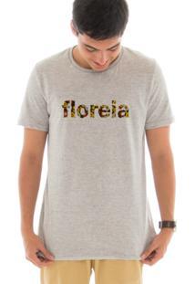 Camiseta Manga Curta Touts Flores Brown Cinza