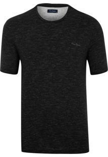 Camiseta Pierre Cardin Malha Fio A Fio Preta