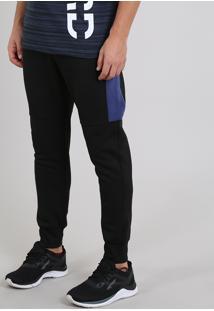 Calça Masculina Esportiva Ace Em Moletom Com Recortes Preta