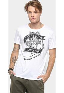 Camiseta Cavalera Manga Curta Estampada Masculino - Masculino-Branco