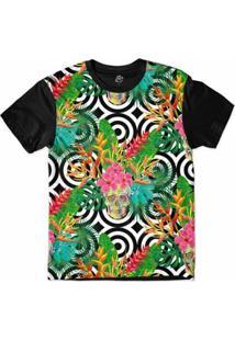Camiseta Bsc Padrões E Listras Caveiras E Plantas Sublimada Masculina - Masculino-Branco+Preto