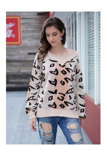 Blusa De Lã Leopard Com Gola Em V Feminina - Leopardo