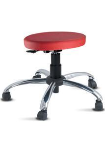 Cadeira Mocho Vermelho Slim Cromado Sem Encosto
