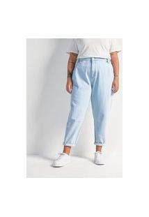 Calça Slouchy Jeans Com Pregas Curve & Plus Size   Ashua Curve E Plus Size   Azul   52