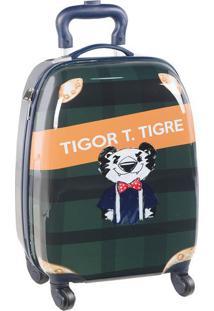 """Mala De Viagem """"Tigor T. Tigre"""" - Verde Escuro & Laranjalilica Ripilica E Tigor T. Tigre"""