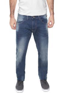 Calça Jeans Fatal Slim Desgastes Azul