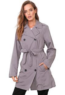 Casaco Trench Coat Ellus Nylon Wrinckle Cinza - Cinza - Feminino - Dafiti