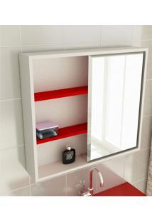 Espelheira Para Banheiro Modelo 22 60 Cm Branca E Vermelha Tomdo