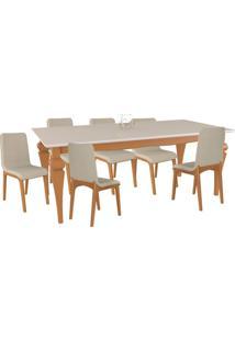 Conjunto Sala De Jantar 6 Cadeiras Lins Mesa Tampo De Vidro 180Cm Fritz Champagne/Off White Linho Bege - Gran Belo