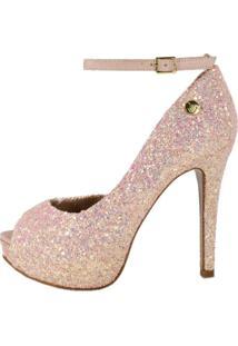 Peep Toe Week Shoes Meia-Pata Glitter Furta-Cor Rosa Com Corte Lateral