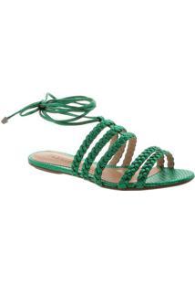 Sandália Rasteira Em Couro Com Tiras Trançadas - Verde Eschutz