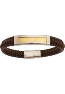 Bracelete De Aço Inox Tudo Joias Gold Com 11Mm De Largura - Masculino-Dourado