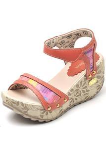 Sandalia Top Franca Shoes Betina Beker Plataforma Anabela Feminina - Feminino-Vermelho Claro