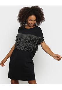 Vestido Lança Perfume Curto Com Franjas - Feminino-Preto
