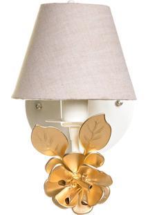 Arandela 1 Lâmpada Flor Grande Quarto Bebê Infantil Potinho De Mel Dourada - Kanui
