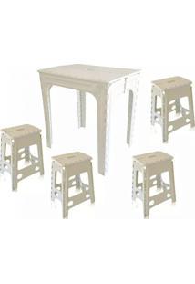 Mesa 2 Banquetas De Plástico Branca Dobrável 3 Jogos