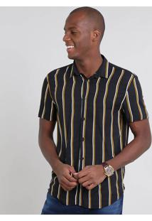 Camisa Masculina Relaxed Listrada Manga Curta Preta