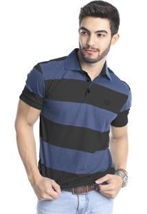 Camisa Polo Tony Menswear De Malha Listrada Preta/Azul
